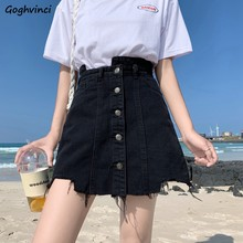Skirts Women Mini Denim Fur-lined Irregular Empire Bodycon Large Size 5XL Casual Buttons Simple Ulzzang Stylish Chic Womens Soft()