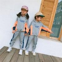 Unisex Kids Clothing Sets Korean Casual Color Stitching Sweatshirt Sweatpants 2pcs Toddler Boys Tracksuit Sport Suit for Girl