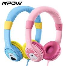 Mpow BH178 çocuklar işitme koruma kulaklıklar kablolu sevimli Panda ses sınırlı kulaklık payı portu ve mikrofon iPhone iPod için