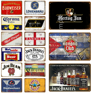 Wine Beer Whiskey Metal Plaque Metal Vintage Bar Tin Signs Metal Poster Home Wall Decor Man Cave Decorative Plates YL124