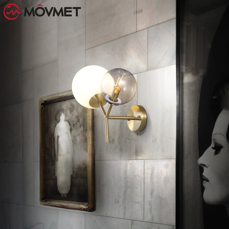 American Modern Style Wall Lamp With Glas Lampshade Bedside Lamps Wall Light for Home Decor 110V/220V E14 Holder Lighting