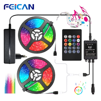 LED Strip Music Sync RGB LED Light Strip Waterproof 12V Sound Sensor Remote Control Fita LED Lights Neon