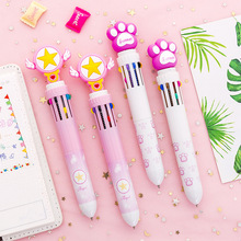 Cute student Candy-colored multi-functional color ballpoint pen creative 10-color small fresh oil pen account stationery creative color mermaid gel pen cartoon fish styling pen student small fresh girl gradient color fish tail ballpoint pen