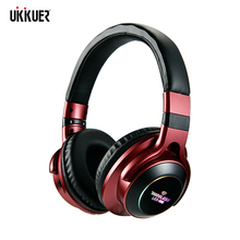 UKKUER auriculares estéreo con luz LED auriculares inalámbricos con Bluetooth 3D, auriculares con micrófono, soporte para tarjeta TF, Conector de Audio con modo FM