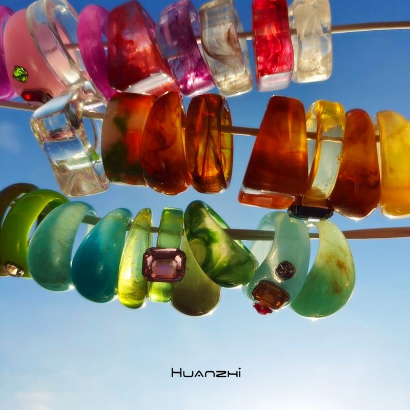 Новый прозрачный акриловый полимер Стразы Красочные Геометрические Квадратные Круглые Кольца Набор для женщин ювелирные изделия подарки ...