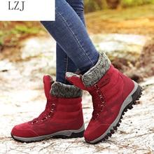 LZJ 2019 nuevas Botas de Mujer de cuero de alta calidad Botas de invierno de gamuza zapatos de Mujer mantener caliente Botas de nieve impermeables Botas de Mujer