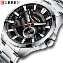 เงินสีดำนาฬิกาผู้ชายยี่ห้อCURRENแฟชั่นCausal Quartzนาฬิกาข้อมือสแตนเลสสตีลนาฬิกาชายนาฬิกาReloj Hombres