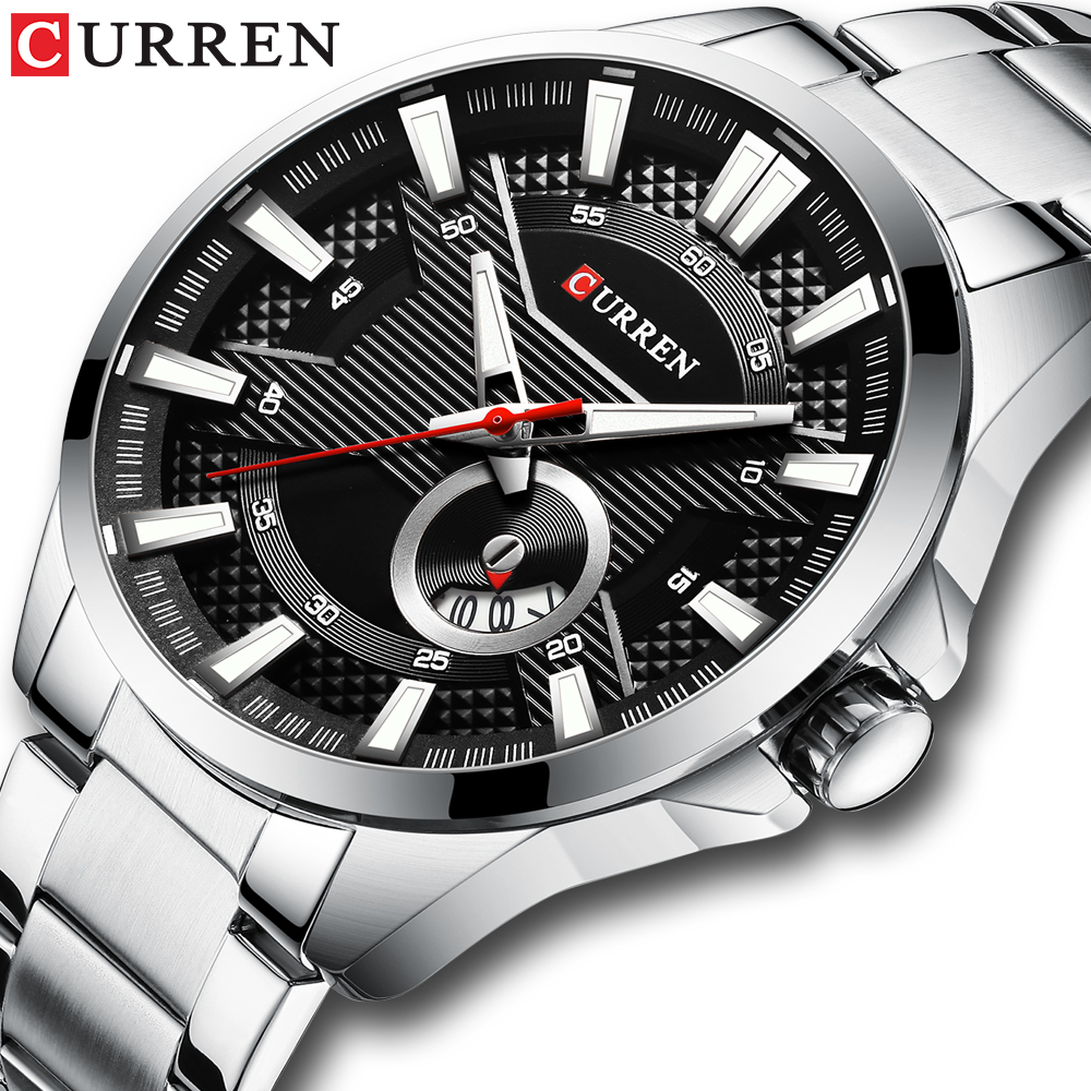Silver Black Watches Men's Top Brand CURREN Fashion Causal Quartz Wristwatch Stainless Steel Band Clock Male Watch Reloj Hombres|Quartz Watches| |  - title=