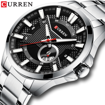 Silver Black Watches Men's Top Brand CURREN Fashion Causal Quartz Wristwatch Stainless Steel Band Clock Male Watch Reloj Hombres - discount item  50% OFF Men's Watches