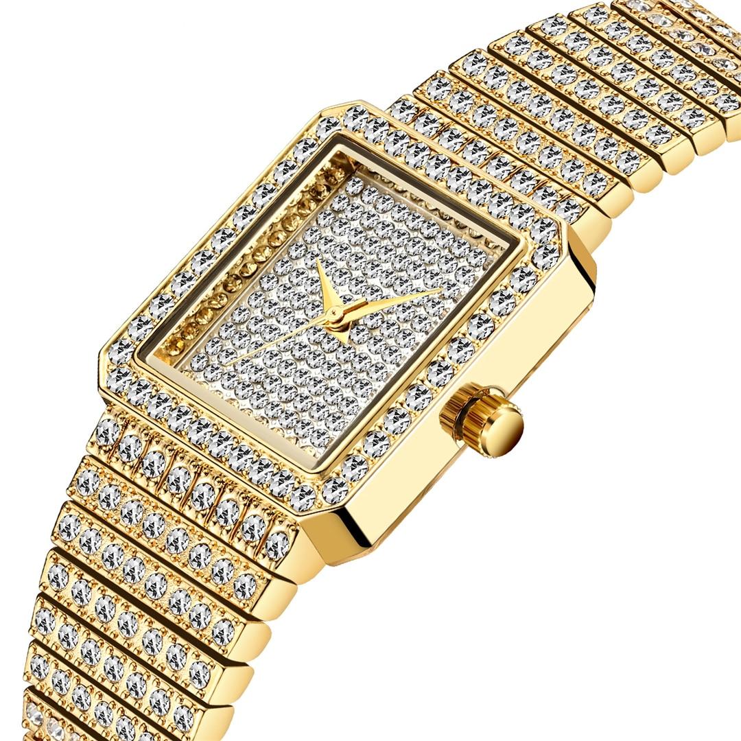 Fashion Square Watch Women Bling Bling Lady Watch for Woman Elegant Dating Match Quartz Wristwatches HIP HOP Couple watches