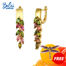 Dangle-Earrings Gemstone Bolai Fine-Jewelry Tourmaline-Leaf 925-Sterling-Silver Natural