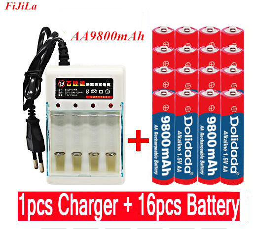 1.5V AA 9800 mah rechargeable battery AA 1.5 V. Rechargeable New Alcalinas drummey +1pcs 4-cell battery charger image