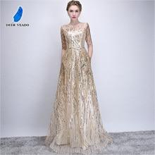 DEERVEADO Robe De Soiree Half Sleeves Long Evening Dresses with Belt Sequins Formal Dress Women Occasion Party Dresses YS449