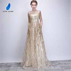 Image 1 - DEERVEADO Robe De Soiree Half Sleeves Long Evening Dresses with Belt Sequins Formal Dress Women Occasion Party Dresses YS449