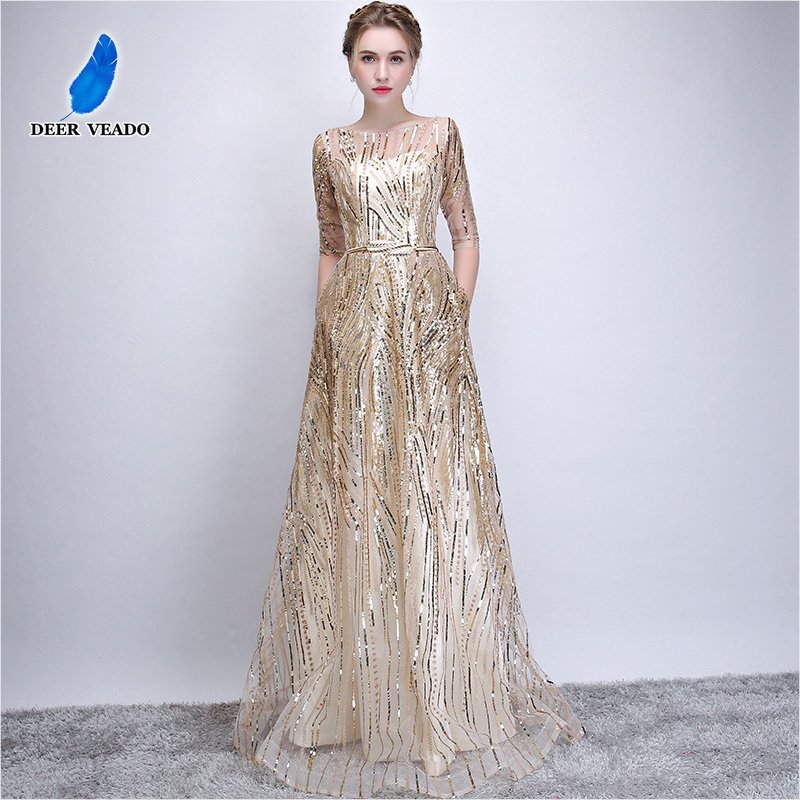 DEERVEADO Robe De Soiree Half Sleeves Long   Evening     Dresses   with Belt Sequins Formal   Dress   Women Occasion Party   Dresses   YS449