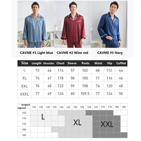 CAVME 100% Silk Pajama Set for Men Hommes Luxury Homwear Father Sleepwear 2 Pieces PLUS SIZE Classic Design Solid Color Lahore