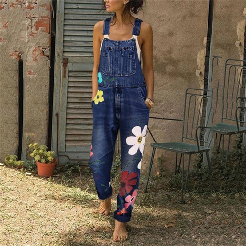 Female Playsuit Women Printed Jumpsuits Fashion Ladies Loose Casual Overalls Rompers Jeans Pants Bib Pants Knee-Length Overall