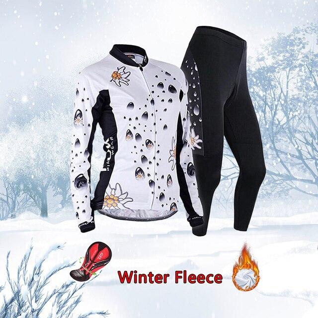 Frete grátis feminino inverno ciclismo conjunto jérsei 2020 velo térmico roupas de bicicleta mtb skinsuit feminino roupas uniforme kit 2