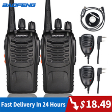цена на 2pcs Baofeng 888S Walkie Talkie 6KM Portable Ham Radio BF-888S Two Way Radio FM Transceiver bf888S 5W UHF Handheld CB Intercom