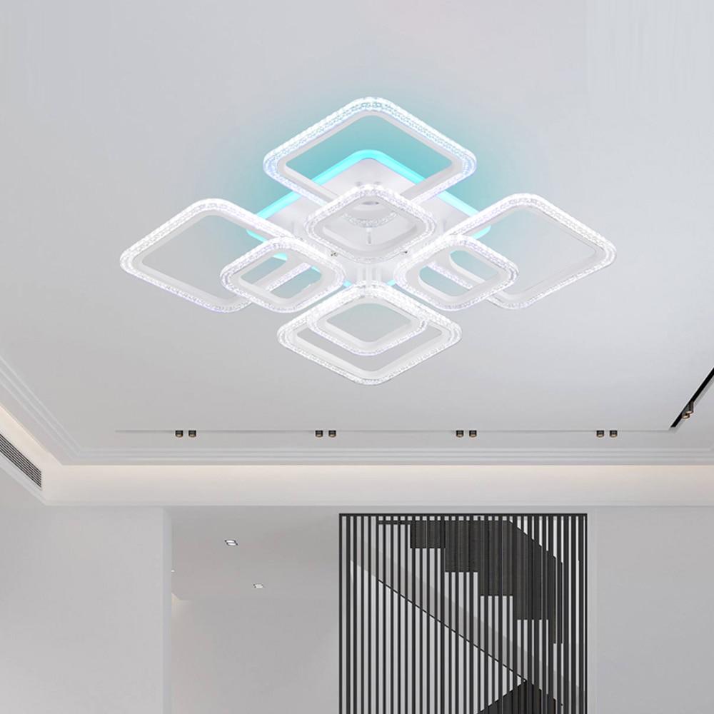 Lustre acrílico moderno led lustres luzes regulável para sala de estar cozinha quarto pode ser escurecido arte deco controle remoto