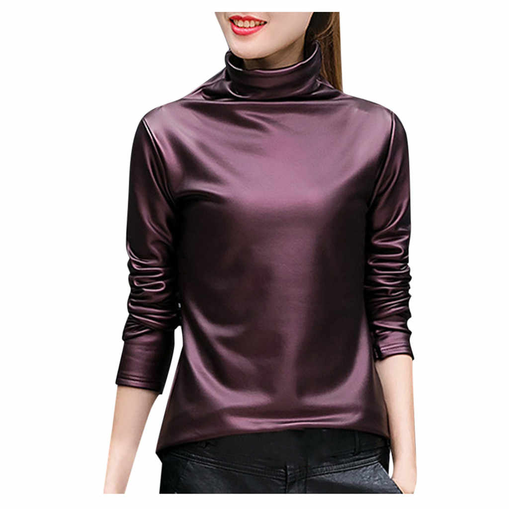 Plus Size Vrouwen Coltrui Blouse Metallic Lange Mouwen Wet Look Shirts Trui Plus Dikke Top Ladies2019