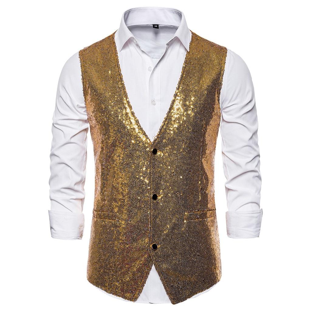 Puimentiua 2019 Men Fashion Sequin Blazers Vest Gliter Suit Vest Nightclub DJ Stage Clothes Shiny Gold Sequin Bling Glitter Vest