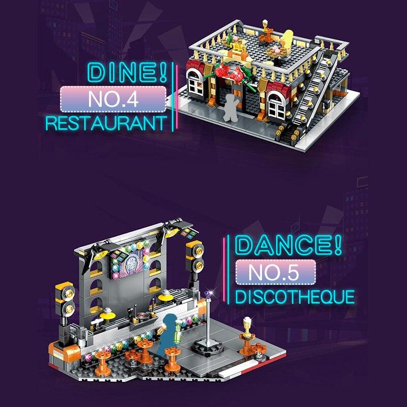5 En 1 creador LED Night Club Fit City Street arquitectura legoings construcción bloques juguetes regalos para niños 2488 piezas-in Bloques from Juguetes y pasatiempos    2