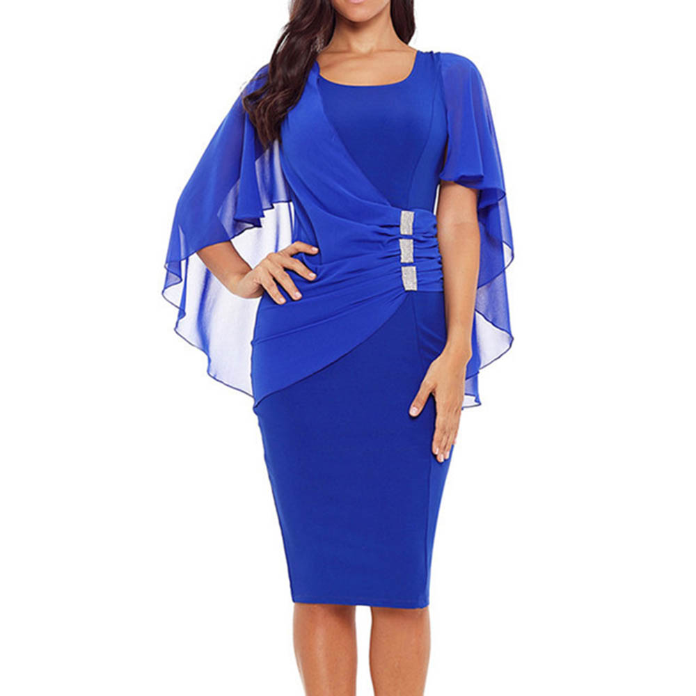 Plus size blue scoop neck party dress 2019 black cocktail dress knee length short sleeves wedding party formal cocktail dresses