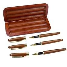 Один набор 3 ручки чехол деревянная гелевая ручка с коробкой