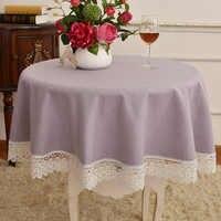 Продвинутая Толстая маленькая круглая фиолетовая простая скатерть для стола, кружевная Бытовая простая гостиничная чайная скатерть высок...