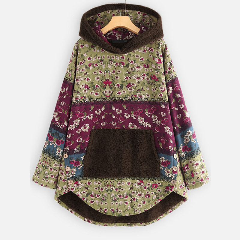 Winter Vintage Floral Velvet Hoodies Women Cotton Linen Hooded Front Pocket Women's Sweatshirt 2019 Autumn Ethnic Hoody Female