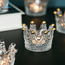 Strongwell European Crown Gold Ornaments Necklace Ring Storage Dish Glass Embossed Candlestick Light Luxury Home Decoration