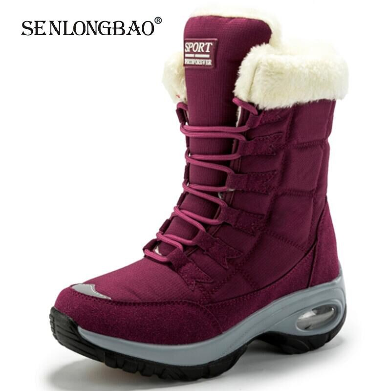 New Winter Women Boots High Quality Warm Snow Boots Lace-up Comfortable Ankle Boots Outdoor Waterproof Hiking Boots Size 36-42