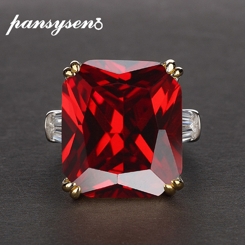 PANSYSEN 3 Colors Red Ruby Amethyst Gemstone Rings for women men S925 Silver Jewelry Engagement Ring Size 5-12 wholesale gift(China)