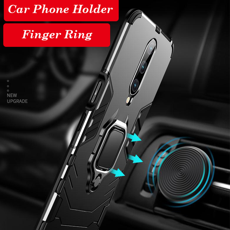 360 Full Hybrid Armor Phone Case For Oneplus 7 7 Pro Cases Finger Ring Car Stand Hard PC Silicone TPU Cover One plus 6T Case in Fitted Cases from Cellphones Telecommunications