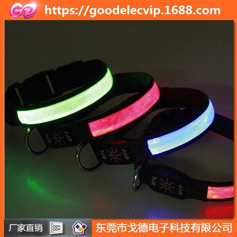 Webbing Nylon Shiny Dog Collar USB Charging Solar Glowing Dog Collar LED Shining Dog Neck Ring Walking Dog Collar