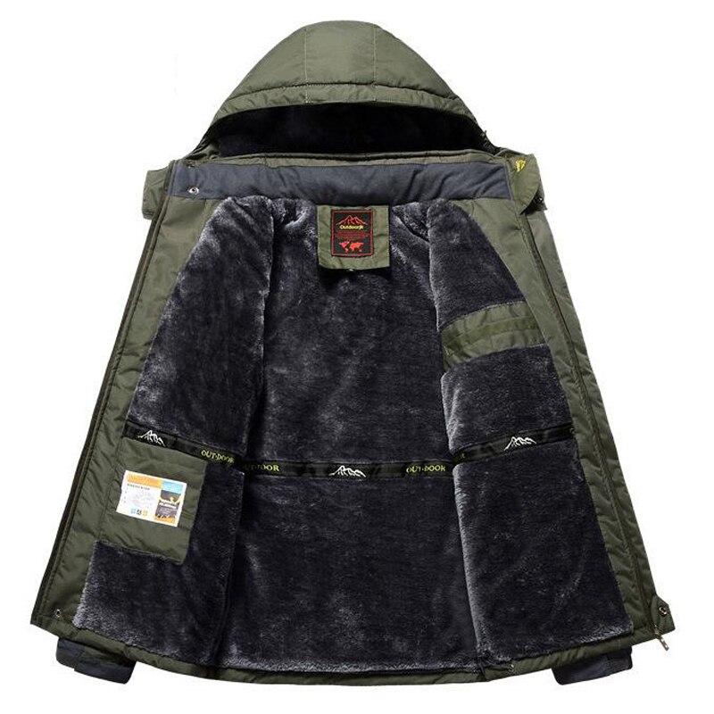 Winter Fleece Military Jackets Men Windproof Waterproof Outwear   Parka   Mens Windbreaker Warm Raincoat Coat Plus Size 8XL Overcoat