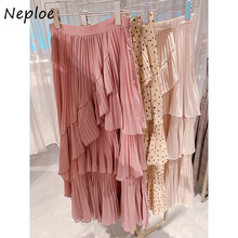 Neploe Japan Style Vintage Polka Dot Women Skirt New Irregular Ruffles Femme Jupe High Waist Bodycon Mid-length Chiffon Skirts
