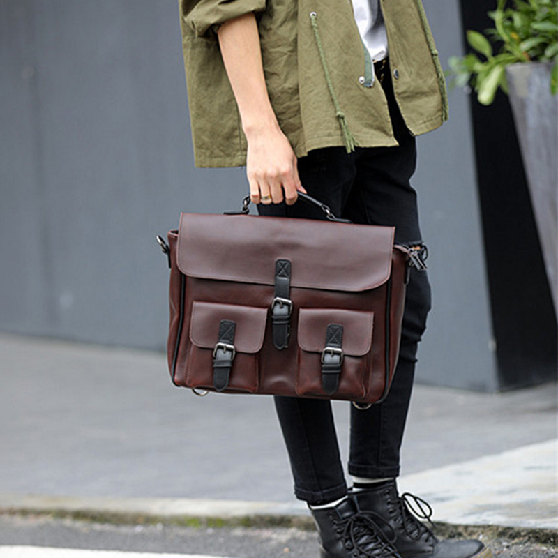 Fashion Men PU Leather Briefcases Waterproof Shoulder Bag Vintage Leather Handbag Laptop Messenger Bags Satchel Retro Coffee