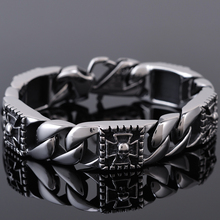 Punk Rocker Hippers Skull Skeleton Bracelet Men 316L Stainless Steel Mens Biker Jewelry Mens Ghost Chain Bracelets & Bangles