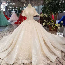 LSS206 샴페인 레이스 웨딩 드레스 2020 짧은 플레어 슬리브 섹시한 v 백 웨딩 드레스 우아한 11.11 글로브 쇼핑 축제