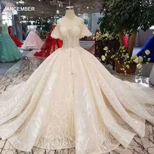 Image 1 - LSS206 champagner spitze brautkleider 2020 kurze flare ärmeln sexy v zurück hochzeit kleid elegante 11,11 Globel Shopping Festival