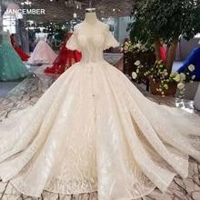 LSS206 szampańskie koronkowe suknie ślubne 2020 krótka, zwiewna rękawy sexy v back suknia ślubna elegancka 11.11 Globel Shopping Festival
