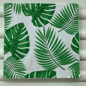 Image 4 - Servilleta de papel retro para mujer, pañuelo elegante, hoja de Monstera verde y azul, decoupage de flores, decoración para fiesta de cumpleaños y boda, hermosas servilletas