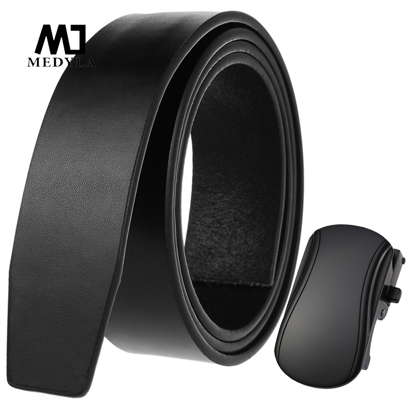 NEW Natural Leather Black Mens Belt Without Buckle Hard Metal Button Automatic Buckle Business Belt Stylish Design Smooth Lines