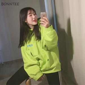 Image 4 - Hoodies Women Harajuku Plus Velvet All match Letter Printed Womens Sweatshirts Long Sleeve Hooded Korean Style Ladies Pullover