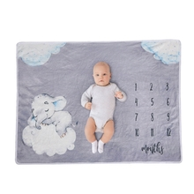Baby Monthly Record Growth Milestone Blanket Newborn Flannel Swaddle Wrap Cloth