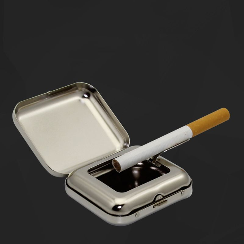 Tinplate Square Pocket Ashtray Portable Ash Tray With Lids Smoking Ash Organizer Y98F