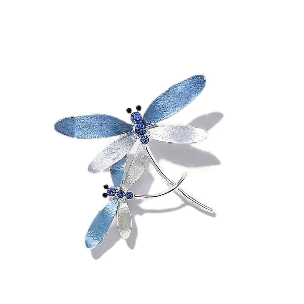 2020 Hit çift Dragonfly kristal böcek güvenlik emaye pimleri broş kadınlar için broş emaye böcek elbise ceket aksesuarları