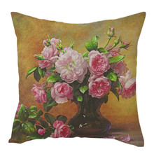 Pure Linen Cushion Cover Rose Flower Pillow Cover for Home Chair Sofa Decorative Pillows Oil Painting Flowers Pillows